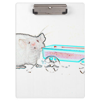 outline mouse with wagon cute mice animal clipboard