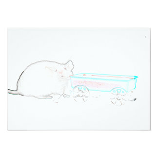"""outline mouse with wagon cute mice animal 5"""" x 7"""" invitation card"""