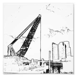 Outline of a Construction Site Photo Print