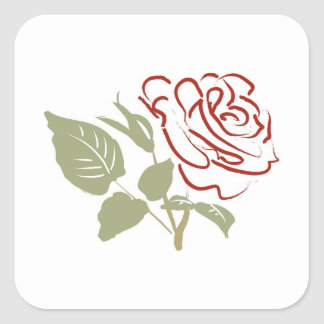 Outline of a Red Rose Square Sticker