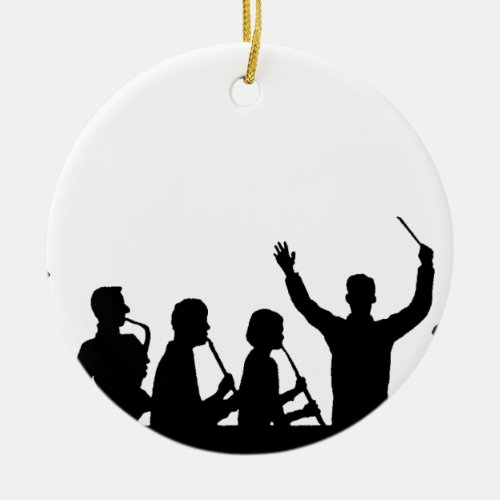 Outline of conductor and band black on white ceramic ornament