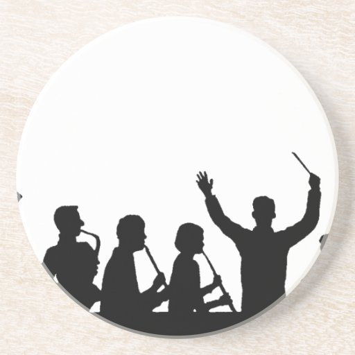 Outline of conductor and band black on white beverage coaster