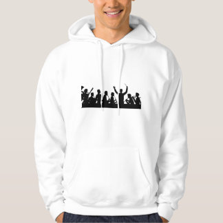 Outline of conductor and band black on white hoodie