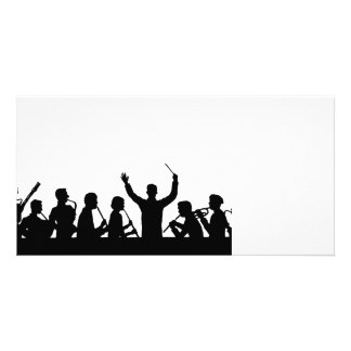 Outline of conductor and band black on white picture card