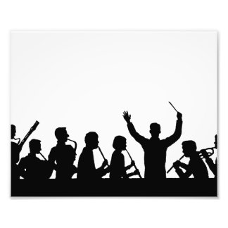 Outline of conductor and band black on white photo print