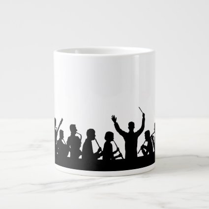 Outline of conductor and band black on white jumbo mug