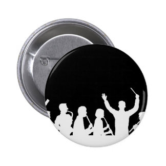 Outline of conductor and band white on black button