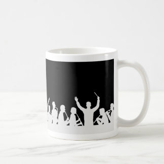 Outline of conductor and band white on black coffee mug