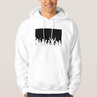 Outline of conductor and band white on black hoodie