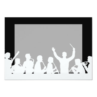 Outline of conductor and band white on black invitations