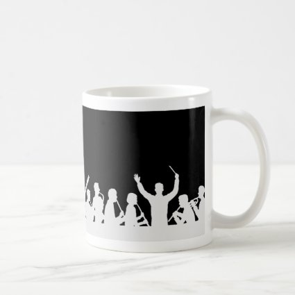 Outline of conductor and band white on black coffee mugs