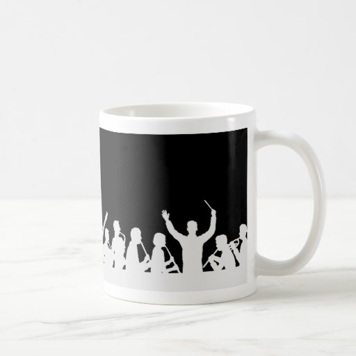 Outline of conductor and band white on black classic white coffee mug