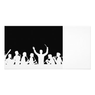 Outline of conductor and band white on black photo card