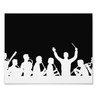 Outline of conductor and band white on black photographic print