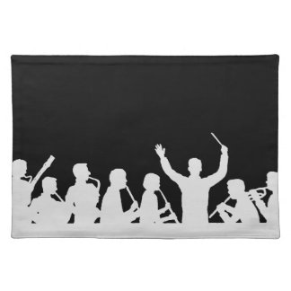 Outline of conductor and band white on black placemat