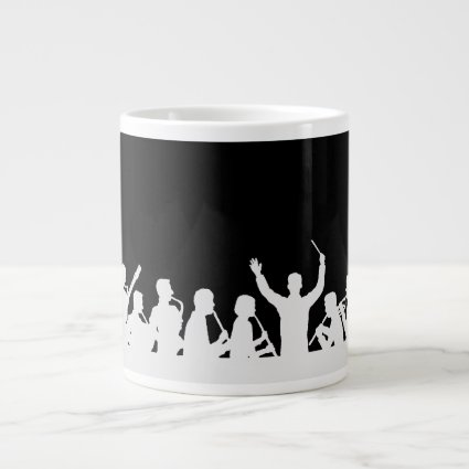 Outline of conductor and band white on black extra large mug