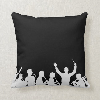 Outline of conductor and band white on black throw pillow