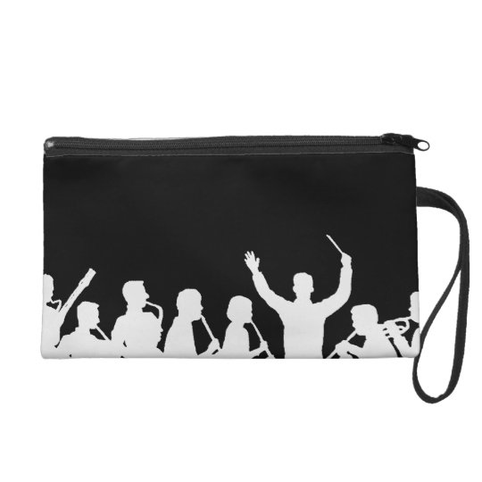 Outline of conductor and band white on black wristlet