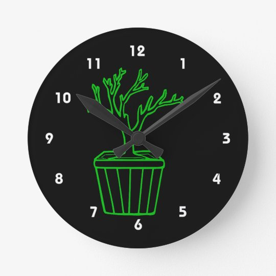 outline tree in pot green.png round clock