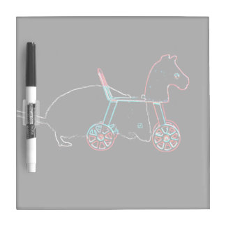 outline white mouse horse toy cute animal dry erase board