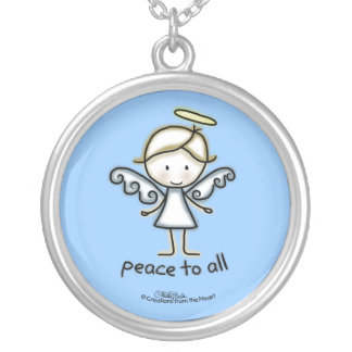 Outlined Angel-Peace to All Personalized Necklace