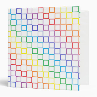 Outlined Checkered Rainbow 3 Ring Binder