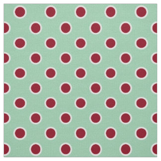 Outlined Dark Red Polka Dots on Light Green Fabric