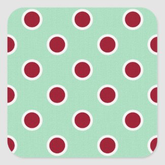 Outlined Dark Red Polka Dots on Pale Green Square Sticker