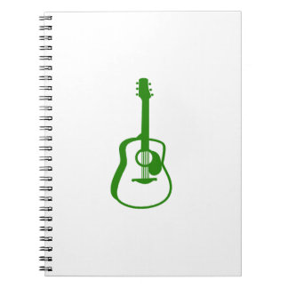outlined guitar graphic green spiral notebook