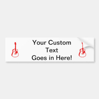 outlined guitar graphic red bumper sticker