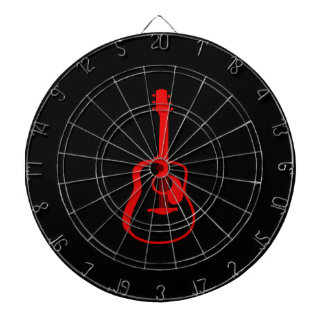 outlined guitar graphic red dart board