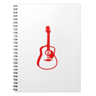 outlined guitar graphic red spiral notebook