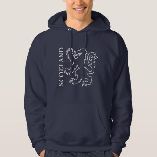 Outlined Heraldic Scotland Lion Rampant Hooded Pullover