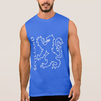 Outlined Heraldic Scotland Lion Rampant Sleeveless Shirt