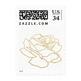 outlined rose flower, nice floral wedding postage