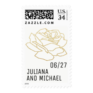 outlined rose flower with names, nice wedding postage