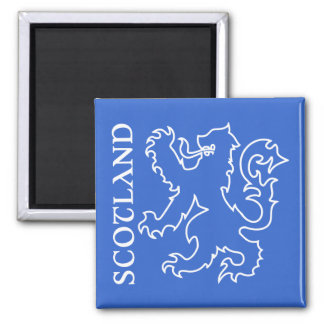 Outlined Scottish Lion Rampant Blue & White 2 Inch Square Magnet
