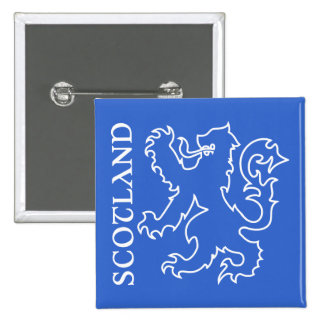 Outlined Scottish Lion Rampant Blue & White Button