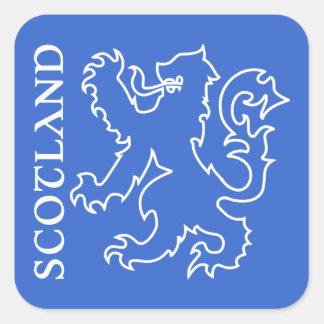 Outlined Scottish Lion Rampant Blue & White Square Sticker