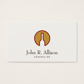 Outlined Wine Bottle Logo Sommelier Business Card