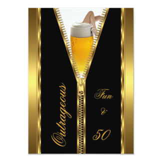 Outrageous Fun & 50 Zipper Gold Beer Drink 4.5x6.25 Paper Invitation Card