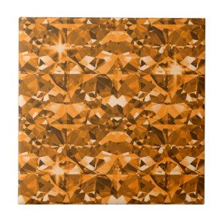 Outrageous Orange Diamonds Small Square Tile