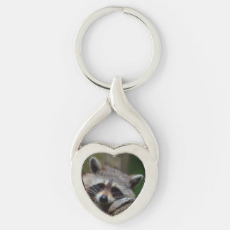 Outrageously Cute Baby Raccoon Silver-Colored Heart-Shaped Metal Keychain