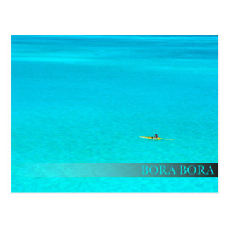 Outrigger canoe in Bora Bora bar postcard