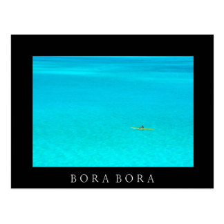 Outrigger canoe in Bora Bora black text postcard