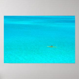 Outrigger canoe in Bora Bora poster print