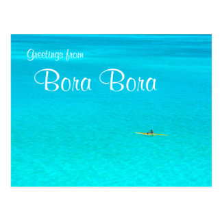 Outrigger canoe in Bora Bora text postcard