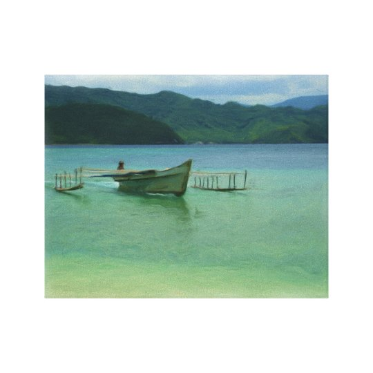Outrigger Canoe on Tropical Bay Ringed With Mounta Canvas Print