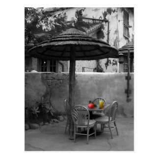 Outside cafe with color splash postcard