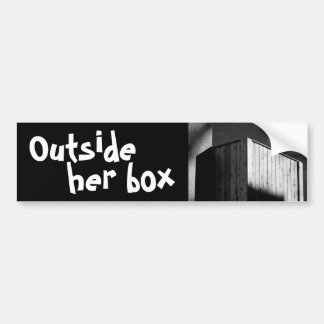 outside her box car bumper sticker